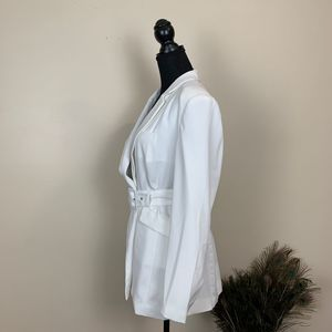 NBD Jackets & Coats - NBD Niko Blazer in White Long Belted Blazer